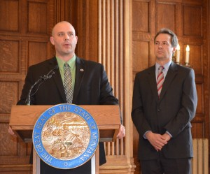 Senator Chas Vincent (R, Libby) speaks during the ceremony for signing of SB 262 at the Capitol on April 24. Image: Governor Steve Bullock