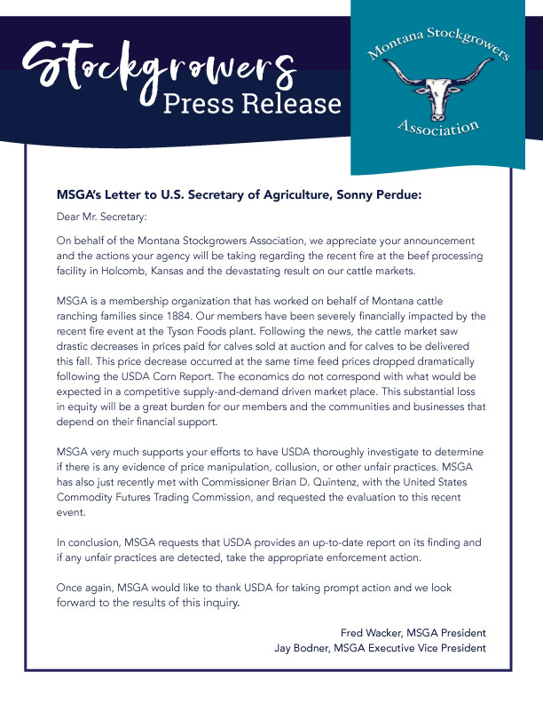 MSGA's Letter to U.S. Secretary of Agriculture, Sonny Perdue