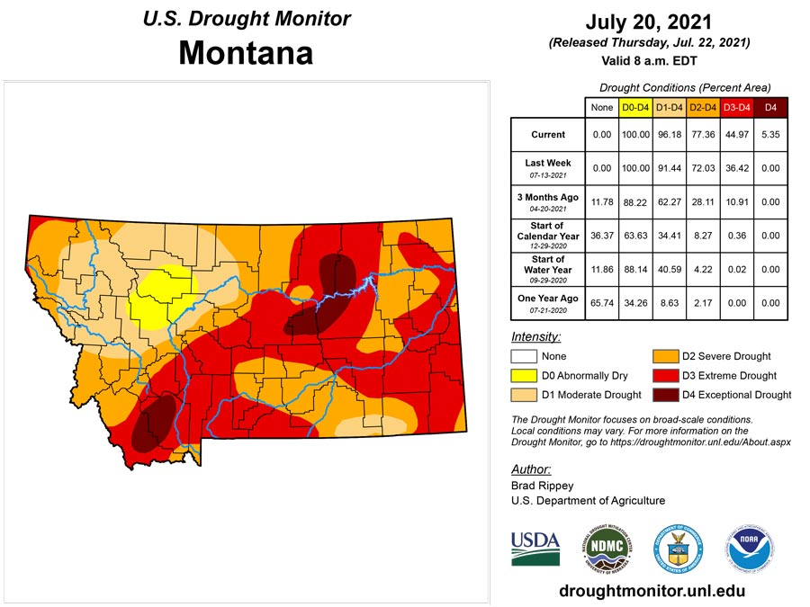 Drought Map as of July 22, 2021