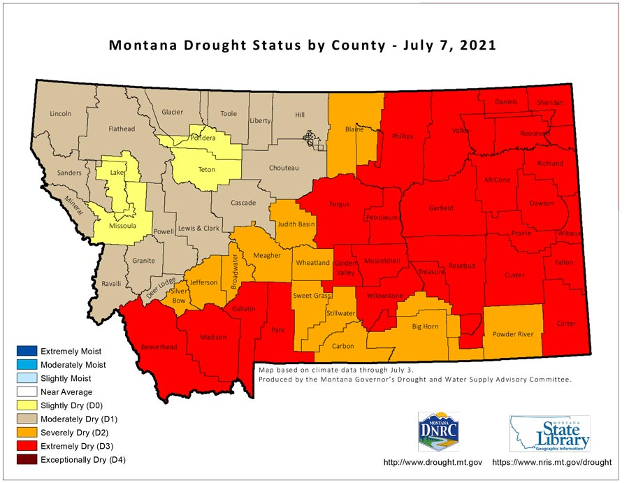 Montana drought status by County